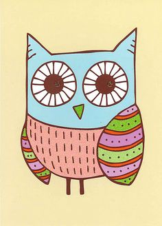 Enjoy the shape and colours of this painted owl by Jen Skelley