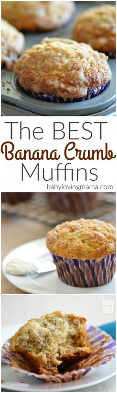 The Best Banana Crumb Muffins Recipe: These banana muffins are absolutely amazing. TRUST ME.