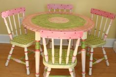 Childs Custom  Painted Table and Chair Set traditional furniture