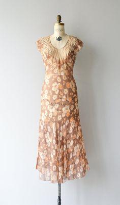 Autumn Heraldry dress vintage 1930s dress silk 30s by DearGolden