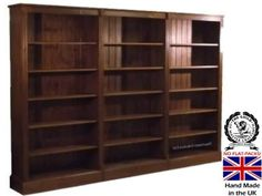 Large Bookcase 6ft Tall X 9ft Wide Solid Hand Made With Adjule Shelving