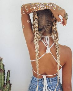 @beelilli // two blonde dutch braids summer girl white bikini cross back