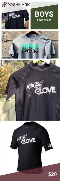 Boys swim rashguard and Nike dryfit T-shirt Size boys large Nike beast grey shirt and bodyglove rash guard boys size 12.   A nice simple set to start a summer wardrobe.   Both are in great condition. Smoke free home-no spots or stains on either item.   Clearing my closet, must sell-a great deal, rash-guard retails for $40.00 Body Glove Swim Rashguards