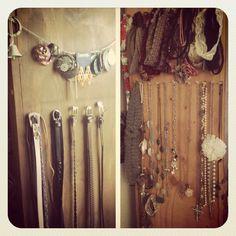 Use thumbtacks on a wooden bookshelf as a quick jewelry/belt/headband organizing system.