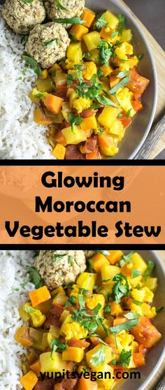 Glowing Moroccan Vegetable Stew | Yup, it's Vegan. Fresh spring vegetables braised in a turmeric-infused, Moroccan spiced tomato broth for the ultimate veggie dish!