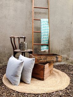 Beautiful things to fill your home - vintage chair, crate, recycled timber ladder handcrafted by RAW, natural jute rug, madras link cushions, throw, lantern