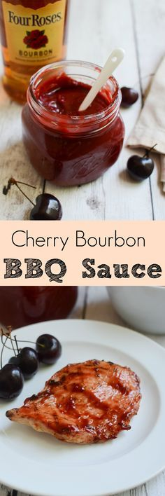Cherry Bourbon BBQ Sauce - delicious sweet and spicy barbecue sauce made with fresh cherries and Bourbon! Perfect on grilled chicken! Barbecue Sauce Recipes, Grilling Recipes, Cooking Recipes, Bbq Sauces, Barbeque Sauce, Barbecue Chicken, Smoker Recipes, Rib Recipes, Chicken Recipes
