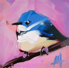 Cerulean Warbler no. 57 original bird oil painting by Angela Moulton