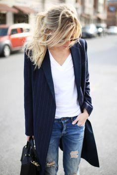 white t & menswear coat