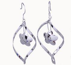 $3.97  57x25mm Spiral Flower 925 Sterling Silver Earrings Jewelry