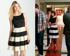 Fashion of Glee - Glee Fashion & Style Glee Fashion, I Love Fashion, Retro Fashion, Fashion Outfits, Fashion Ideas, Fashion Tips, Rachel Berry Style, Black White Striped Dress, Cool Outfits