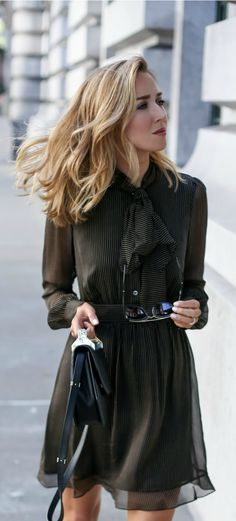 pinstripe tie neck chiffon dress, pointed toe heels, black shoulder bag, sunglasses + wavy hairstyle {dvf, sjp collection, m2malletier, wonderland}
