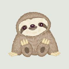 Sloth Cute Sticker by Toru Sanogawa - White Background - Cute Baby Sloths, Cute Sloth, Baby Otters, Sloth Drawing, Baby Drawing, Sloth Cartoon, L Wallpaper, Cute Animal Drawings, Cute Animals To Draw