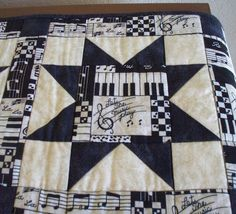 Musical Quilted Piano Runner Piano Topper by QuiltSewPieceful