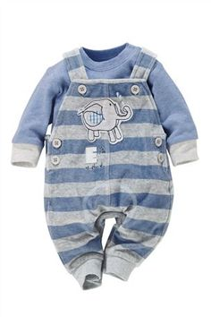 Buy Elephant Velour Dungarees And Bodysuit Set (0-18mths) from the Next UK online shop