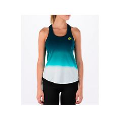 Nike Women's Country Art Tank ($15) ❤ liked on Polyvore featuring tops, blue, nike singlet, blue shirt, blue tank top, sleeveless tank and sleeveless shirts
