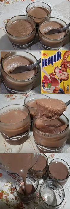 🥛Mousse de nesquik🥤 No Bake Treats, No Bake Desserts, Easy Desserts, Dessert Recipes, Cooking For Dummies, Decadent Cakes, Pastry And Bakery, Chocolate Desserts, Chocolate Cake
