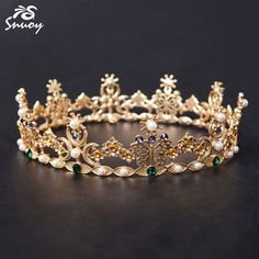 Find More Hair Jewelry Information about Snuoy Gold Queen King Full Round Circle Tiaras & Crown European Baroque Vintage Crown with Purple Green Beads & Imitation Pearl,High Quality circle tiara,China vintage crown Suppliers, Cheap european crown from FF Wedding Store on Aliexpress.com