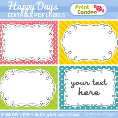 Rectangle - Editable PDF (8x10) Happy Days Labels (No. 222) - Buy 2 Get 1 Free - Printable Labels / Cards Gift Tags
