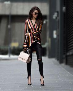 Asymmetric Striped Silk-Satin Blouse - Fall Outfit Idea by Modeison