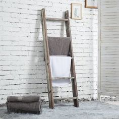 August Grove® 4 ft Blanket Ladder   Wayfair Rustic Blanket Ladder, Rustic Ladder, Wood Ladder, Ladder Decor, Ladder Racks, Ladder Shelves, Diy Ladder, Bathroom Ladder, Bathroom Rack