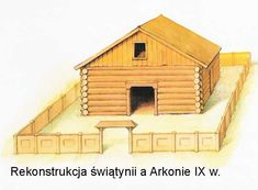 Reconstruction of West Slavic temple in Arkona (Jaromarsburg), 9th century