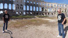 Fooling around at the Roman amphitheatre in Pula, Croatia