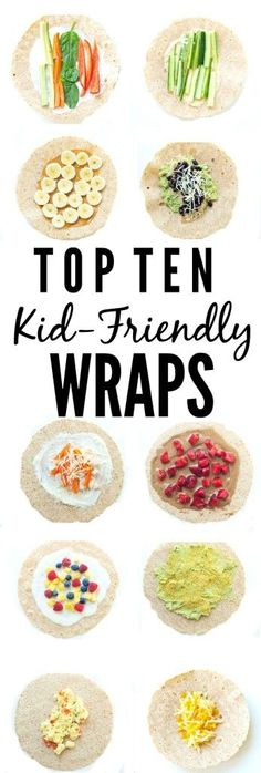 Top 10 Kid-Friendly Wraps - get out of the sandwich rut! Top 10 Kid-Friendly Wraps - get out of the sandwich rut! Fingerfood Baby, Super Healthy Kids, Healthy Kid Snacks, Healthy Appetizers, Easy Snacks, Kids Vegan Meals, Healthy Food For Kids, Healthy Toddler Lunches, Meals Kids Love