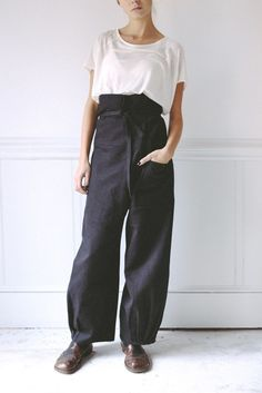 wool blend origami pants / black | STATE