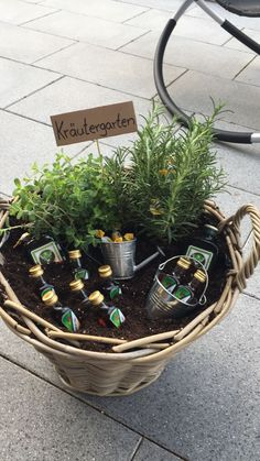 """I made """"Herb Garden"""" as a housewarming gift for a friend. - I made """"Herb Garden"""" as a housewarming gift for a buddy. I made """"Herb Garden"""" as a housewarming gif - Anniversary Gifts For Parents, Anniversary Decorations, Birthday Decorations, Diy Gifts For Girlfriend, Garden Gifts, Birthday Presents, Herb Garden, Gift Baskets, Wicker Baskets"""