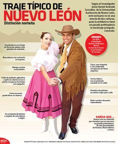 El traje típico de Nuevo Léon no es una mezcla de culturas pues la entidad no cuenta con pasado prehispánico ni meztizaje arraigado. Conócelo. #Infographic