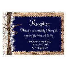 Blue Wedding Reception Wedding Invitations Rustic Country Burlap Lace Wedding Reception Cards