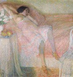 Léon de Smet - Roze Harmonie, Oil on canvas, x cm x 53 in. Georges Seurat, Rene Magritte, Art Database, Pointillism, Art Auction, Figure Painting, Figurative Art, Art Day, Van Gogh