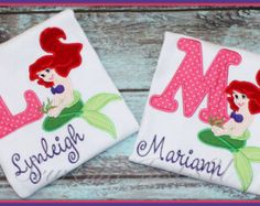 Little Mermaid Ariel Personalized Initial Tee