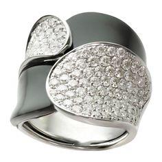 1stdibs.com | Black Onyx Pave Diamond Geometric White Gold Ring