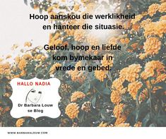 Hallo Nadia is an Afrikaans blog by Dr Barbara Louw to encourage people to hold on to hope. You can handle any situation without lying to yourself.  #DrBarbaraLouw #InterTraumaNexus #Trauma #Wellness4Wholeness #Counselling #Afrikaans #AquillaWellnessSolutions #AquillaTraining Message Of Hope, Afrikaans, Counselling, Trauma, Helping People, Health And Wellness, Encouragement, Handle, Author