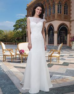 Style 3826: Alencon lace, satin faced chiffon fit and flare dress accented by a Sabrina neckline | Sincerity Bridal