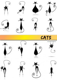Cat doodles, line drawn kitties fun graphic cats Gato Doodle, Doodle Art, Doodle Drawing, Painting & Drawing, Tangle Doodle, Doodle Ideas, Baby Drawing, Doodles, Kitty Tattoos