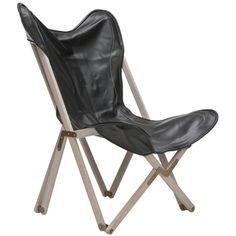 Butterfly Black Bi-Cast Leather Folding Chair | Overstock.com
