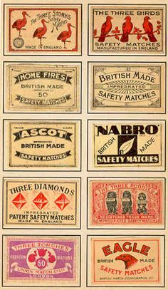 vintage matchbook covers - free vintage ephemera images to download free for crafting, scrapbooking etc at  http://www.art-e-zine.co.uk/ephemera.html Image for DIY paper craft project like collage, mixed media, tags or labels. Eagle & ascot cards.
