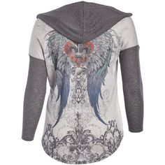 Poliana Plus Gray Wings Fleur-de-Lis Hooded Cardigan ($25) ❤ liked on Polyvore featuring plus size women's fashion, plus size clothing, plus size tops, plus size cardigans, plus size, long open cardigan, plus size open cardigan, long cardigans, plus size open front cardigan and plus size hooded cardigan