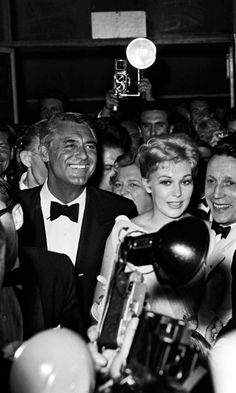 Cary Grant and Kim Novak at a movie premiere