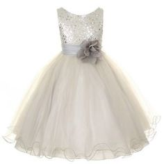 Tulle-Infant-Flower-Girl-Dresses-Toddler-Sequenced-Bodice-Sparkle-Glitter-S-XL