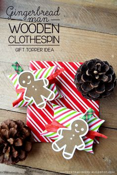 Minted Strawberry: DIY: Gingerbread Man Wooden Clothespin Gift Toppers with Free Printable