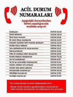 GUZEL PAYLASIMLAR: Acil durum numaraları. Kurandan yürek ferahlatan a... Morals, Tintin, Quran, Allah, Muslim, Ideas, Karma, Sun, Tips