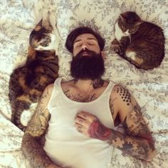 This is actually my ultimate dream. Sexy tattooed bearded man surrounded by cats. Yesssss please