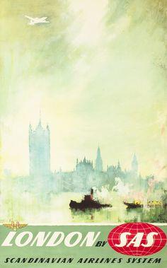 London by SAS by Otto Nielsen | Shop original antique posters online: www.internationalposter.com