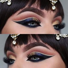 CLEOPATRA EYES ✨Jewelry from @siyajewels Products Used: @anastasiabeverlyhills dipbrow in dark Brown Eyeshadows in frappe & wildwest from @makeupgeekcosmetics And star cobalt, noir & glowkit from @anastasiabeverlyhills Lashes @lashqueen__ lashes Eyeliner @sigmabeauty gel Liner in Wicked Glitter On lower lashline from @litcosmetics #norvina #anastasiabeverlyhills #ultimateglowkit #sigmabeauty #lashqueen #makeupgeekcosmetics #makeupgeek #halloween #halloweenmakeupideas
