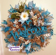 Welcome Spring and Summer 26 inch deco mesh by IncredibleKreations