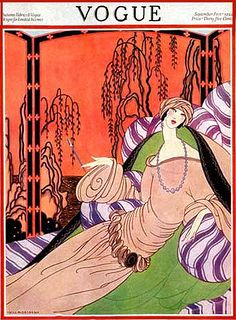 Vintage Deco Vogue Magazine Illustration--Flapper in Longing Boudair
